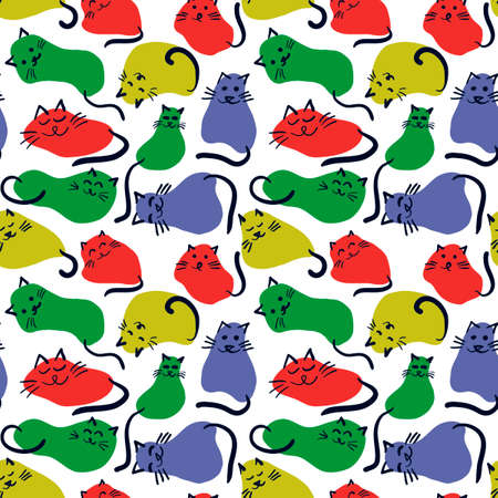 Seamless pattern with cute cats in various poses . Animals drawn from spots. Vector Drawn background for children.