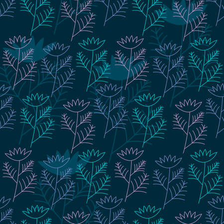 Seamless floral background on blue . Hand-drawn vintage pattern for fabric, digital paper.