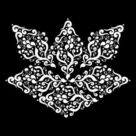 Stylized Lotus flower, decorative element. Hand drawn Mehndi design. Ethnic monochrome doodle texture. Curved doodling. Black and white vector illustration,
