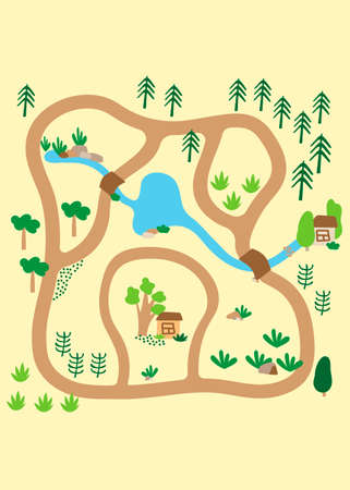 Country landscape with trees, river, bridges and lake. Little house. Play Mat, Board game, poster for children's room. vector illustration of a cartoon in children's hand-drawn Scandinavian style
