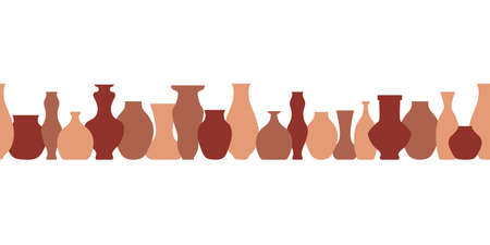 Pottery flat seamless border. Handmade ceramic vase and pots . Pottery hobby. Banner for your Studio or shop. Horizontal format. Vector illustration