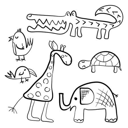 Hand drawn Set of cute animals and birds. African animals elephant, giraffe, turtle and crocodile. Vector illustration of a Doodle outline. Design for children's coloring Book and other surfaces.