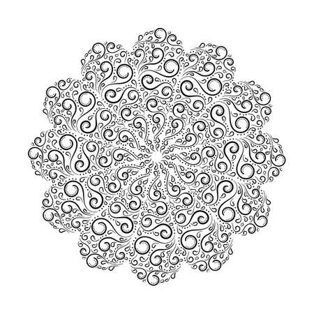 Mandala pattern. Mandala with curls, abstract round ornament. Hand drawn illustration. Round pattern o n a white background,