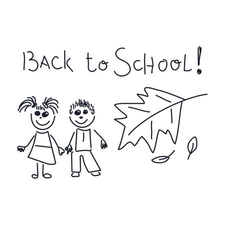 School activities. Drawing and handwriting of the child - back to school, boy and girl,vector illustration