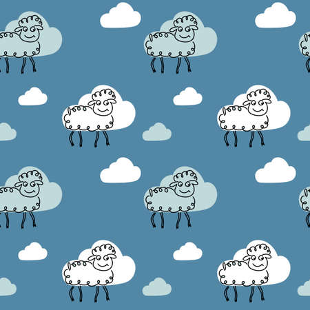 Cute vector seamless pattern of monochrome graphic illustration of the sheep and of the white and blue clouds on a blue background . For fabric, textile, paper, . Child element Ilustrace