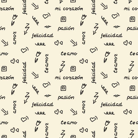 Doodle hand drawing seamless pattern. Words, phrases of love in Spanish, hearts, arrows, flowers, squiggles. For fabric, wrapping paper,Wallpaper, background Vettoriali