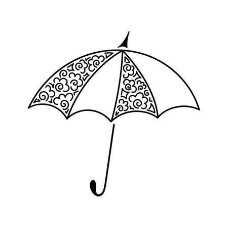 Umbrella. Outline, doodle. Vector. Can be used as an element of your design Иллюстрация