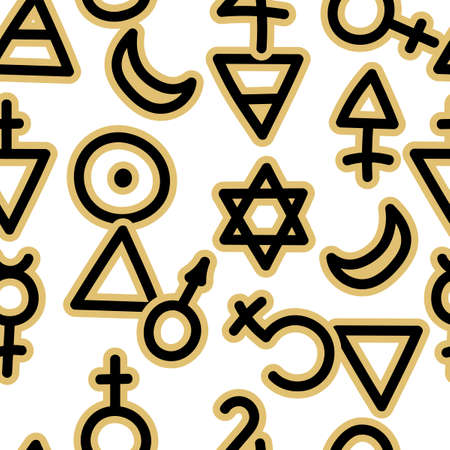 Seamless pattern with magical esoteric, runic symbols . Sacred geometry. Occult ancient symbols. Vector background.