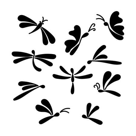 Silhouettes of butterflies . Hand drawn illustration. Vector set.
