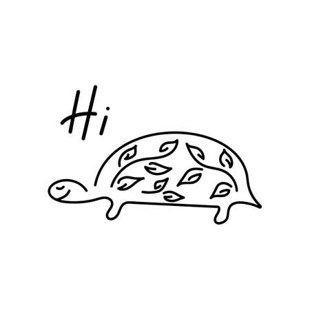 Cute, smiling turtle. Hi, hand drawn illustration design Vector illustration Illustration