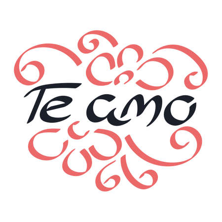 I love you in Spanish. Te amo, lettering. Vector illustration. Ilustração