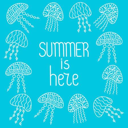 Summer is here. Frame with Jellyfish drawn in line art style. Vector, Vektoros illusztráció