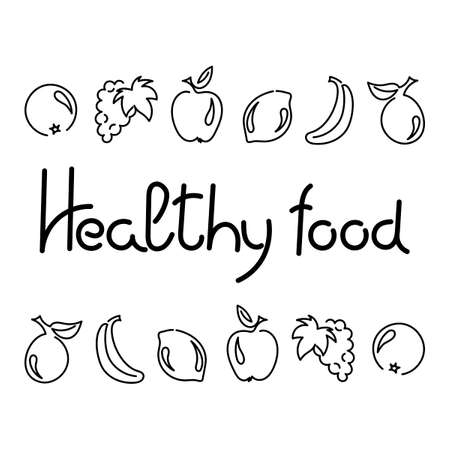 Healthy food, hand drawn text. Fruits outline Vector