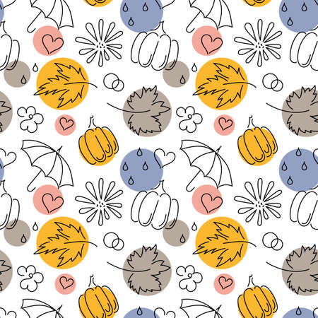 Autumn. Fall. Cute vector seamless pattern with autumn maple leaves,flowers, pumpkins, umbrellas on white background