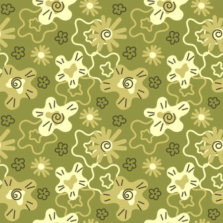 Abstract seamless pattern with leaves and flowers. Hand drawn vector on modern style Foto de archivo - 148986258