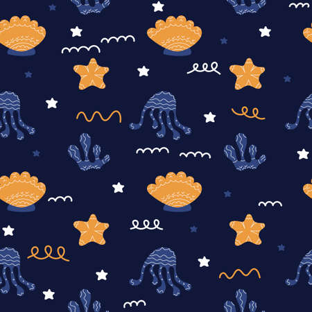 Underwater life vector seamless background. Children's textiles, wrapping paper. Octopuses, starfish, algae on dark background. Scandinavian style,