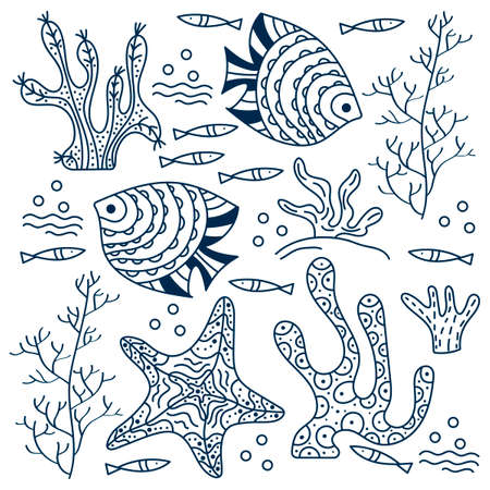 Sea floor, underwater world. Fish and seaweed on a white background. Hand drawing vector drawing. Contour drawing for the cover, poster or book coloring pages 向量圖像
