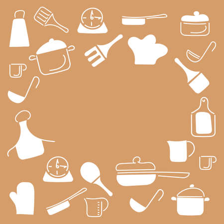 Cooking food frame template for food with Cutlery, kitchen accessories. Doodle style, hand drawn Cutlery . Space for text. Vector illustration.
