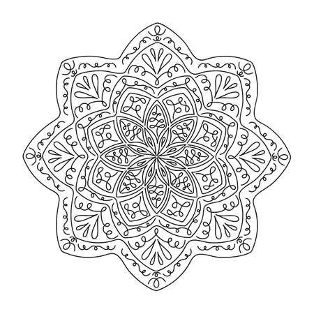 Ethnic and tribal mandala. Hand drawn decorative elements. Vector Oriental pattern for meditation, decoration, postcards Vetores