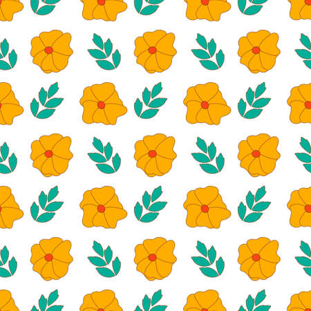 Seamless pattern. Orange flowers with leaves on a white background. Background for fabric and other surfaces,
