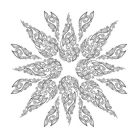 Flower mandala with intertwined branches and leaves . Page of a hand-drawn coloring book . Black and white vector illustration,