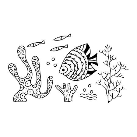 Sea floor, underwater world. Fish, seaweed, corals, on a white background. Hand drawing vector drawing. Outline drawing for a cover, poster, or coloring book, 向量圖像