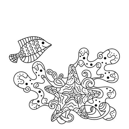 Underwater life, sea in Doodle style .Tropical fish and starfish. Anti-stress coloring books page for adults and children. Vector illustration, Space for text