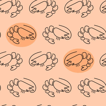 Shrimp seamless pattern on pink background . Sea Food Concept. Vector illustration