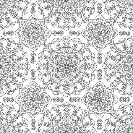 Seamless pattern with Mandala. Vintage decorative elements. Oriental pattern, Ethnic and tribal mandala on a white background. Ornate curls. Hand drawn vector illustration
