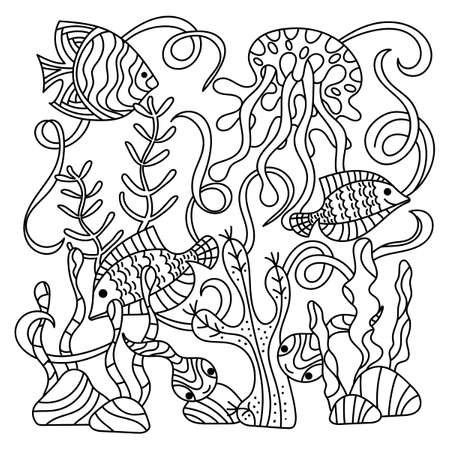 Underwater life, sea in Doodle style .Tropical fish and starfish. Anti-stress coloring books page for adults and children. Vector illustration,
