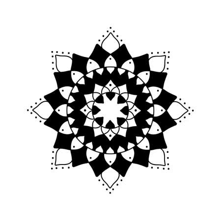 Circular Flower Mandala. Vector mandala Oriental pattern, Hand drawn decorative element. Black and white. Simple coloring, design element, printing on t-shirts