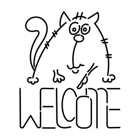 Welcome - text. Cute cat. Hand drawn Vector illustration.