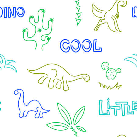 Cute dinosaurs and palm trees, cacti. Seamless pattern. Hand drawn vector doodle design.