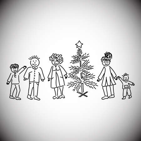Family at the Christmas tree. Childrens drawing, vector illustration