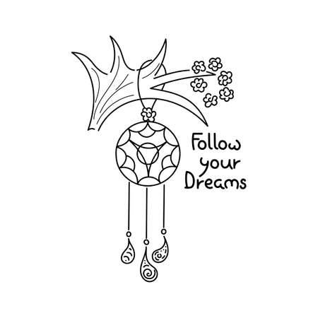 The words Stay Wild. Outline Vector illustration Ilustração