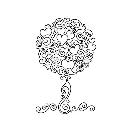 Tree of life and love. Hand drawn Doodle background. Vector illustration. Can be used for greeting card, invitation, posters and other.
