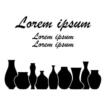 Pottery flat vector border. Handmade ceramic vase and pots.  Banner for your Studio or shop. Horizontal format. Illusztráció