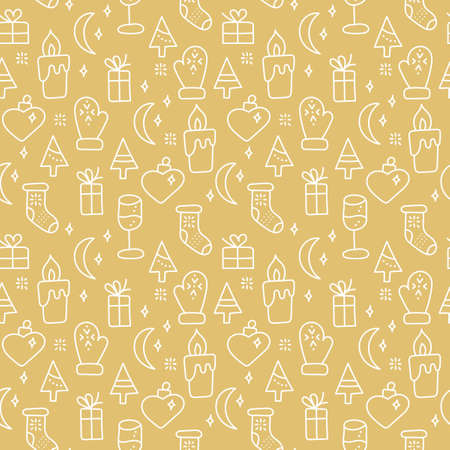 Hand drawn seamless pattern New year or Christmas theme. White Doodle elements on a gold background. Çizim