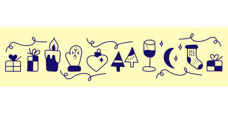 New year or Christmas Hand drawn doodle banner. A candle, mittens, a glass of champagne and more Çizim