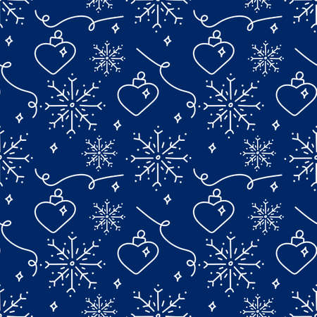 New year hand drawn outline festive seamless pattern with snowflakes and Christmas tree decoration in heart shape isolated on blue background.