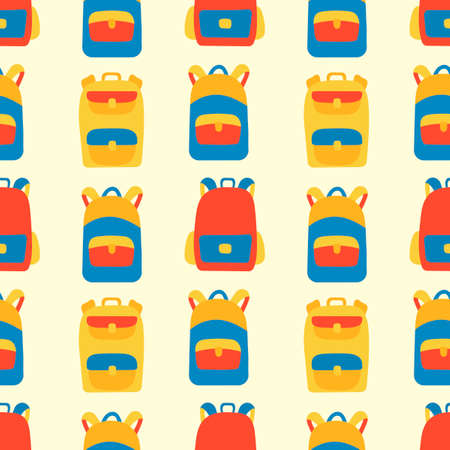 School seamless pattern. Cute doodles Backpacks, notebooks, books drawn by hand . Color funny vector illustration. Background for school supplies, fabric, and other surfaces Ilustrace