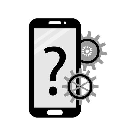 Customer support, call center, management . Mobile phone, question mark, gears. Color vector illustration.  イラスト・ベクター素材