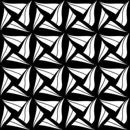 Seamless Abstract Cubes Pattern. Hand drawn geometric tile. Vector Black and white elements