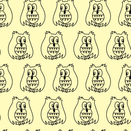 Owl seamless pattern. Hand drawn vector illustration. Illusztráció