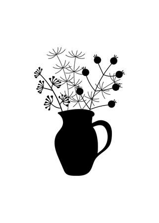 A bunch of herbs and twigs with berries in a vase. Silhouettes of simple twigs, plants, herbarium. Ceramic pitcher, vase. Vector hand drawing in black and white. Composition for your design