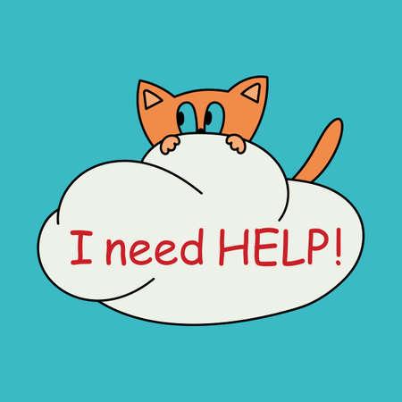 I need help. Cute little kitten hanging on a cloud.