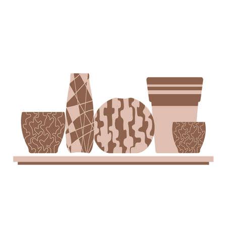 Pottery hobby. Handmade ceramic vases and flower pot. The shelves in the shops, art studios, interior Design. Flat vector illustration on a white background, Vector Vetores