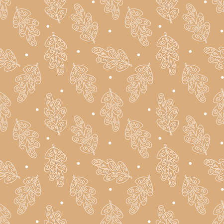 Seamless background with oak leaves and Polka dot. An ornate frost pattern. White hand drawn leaves. Vector,