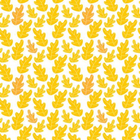 Seamless pattern with yellow and orange oak leaves. Vector illustration on white. Ilustração