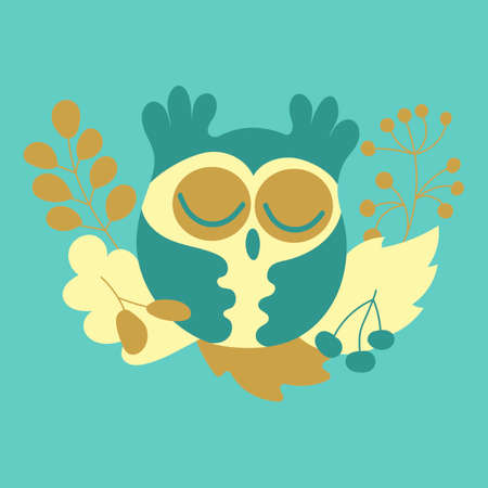 Cute autumn owl. Cartoon bird, leaves and berries. Print for t-shirts, postcards, posters. Vector illustration in flat style,
